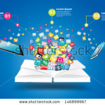 stock-vector-book-with-mobile-phones-and-tablet-computer-pc-with-cloud-of-colorful-application-icon-business-146899967